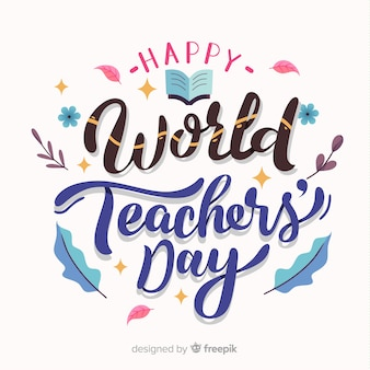 Happy world teacher's day background with lettering