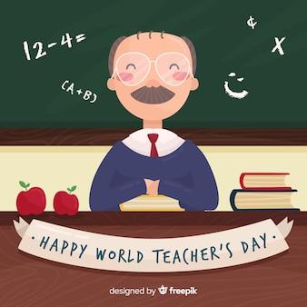 남성 교사와 칠판 행복 세계 교사의 날 배경
