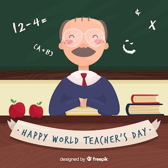 Happy world teacher's day background with male teacher and blackboard