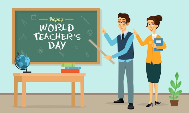 Счастливый всемирный день учителя иллюстрации шаржа. подходит для поздравительной открытки, плаката и баннера