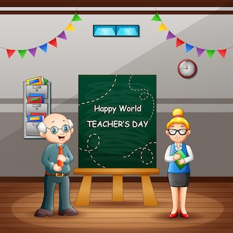 Happy world teacher's day text on chalkboard with teachers