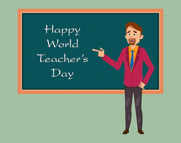 Happy world teachers day flat