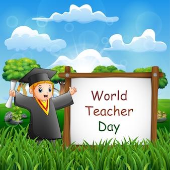 Happy world teachers day with graduation kids