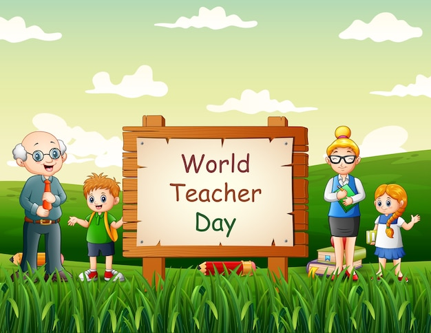 Happy world teachers day with teacher and students at nature