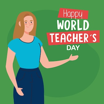 Happy world teachers day, with young woman teacher