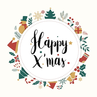 Happy xmas greeting badge vector