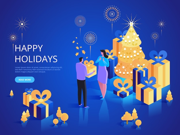 Happy xmas holidays landing page vector template. gift giving website homepage interface idea with isometric illustrations. christmas surprise. celebrate traditional winter event web banner 3d concept