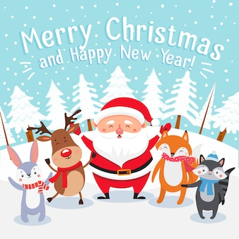 Happy xmas pets, santa present gifts and winter holiday presents vector illustration