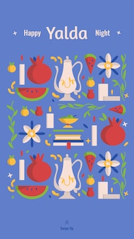 Шаблон рассказа в социальных сетях happy yalda night с символами праздника - арбузом, гранатом, орехами, свечами и сборниками стихов. иранская ночь сорока, фестиваль празднования зимнего солнцестояния.