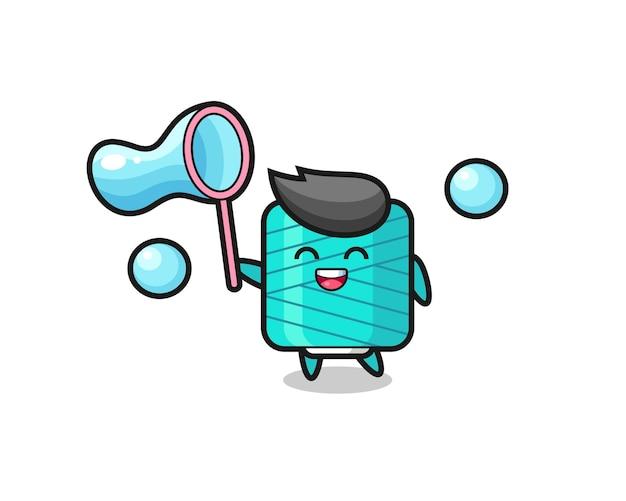 Happy yarn spool cartoon playing soap bubble , cute style design for t shirt, sticker, logo element