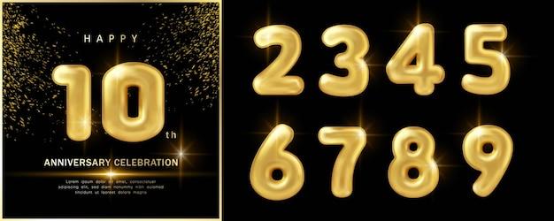 С новым годом празднование годовщины роскошный золотой шар номер украшения с черным темным фоном