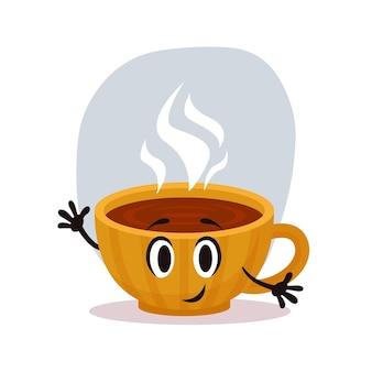 熱いお茶の幸せな黄色の漫画verctorカップ。煙が入った小さな居心地の良いセラミックカップ。ベクトルイラスト