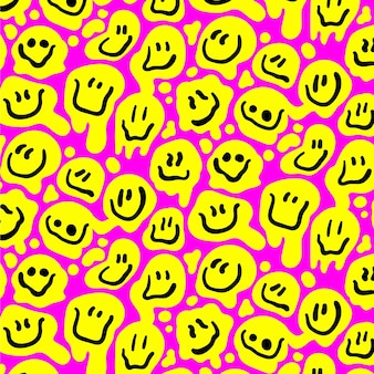 Happy yellow distorted emoticon seamless pattern template