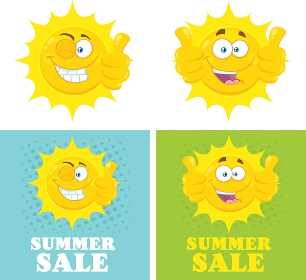 Happy yellow sun cartoon emoji face character giving thumbs up flat with halftone and text summer sale