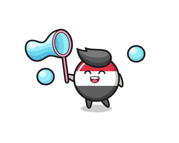 Happy yemen flag badge cartoon playing soap bubble , cute style design for t shirt, sticker, logo element