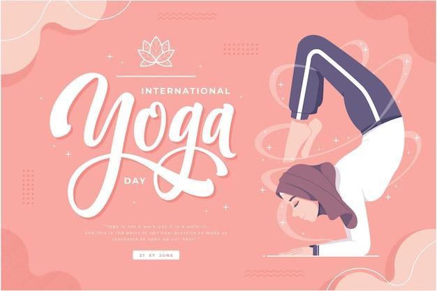 Счастливый день йоги иллюстрация баннер