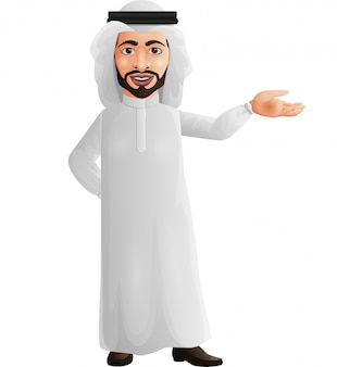 Happy young arab businessman presenting