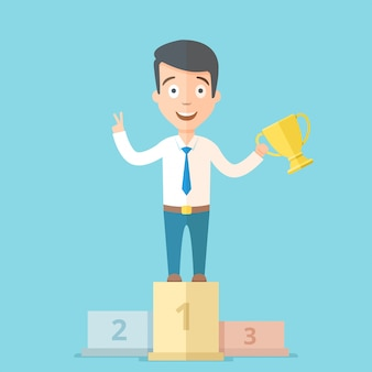 Happy young businessman holding a golden cup in his hand on the first place on the podium. cartoon vector business concept illustration.
