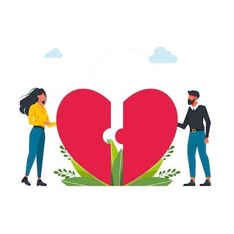 心の半分をつなぐ幸せな若いカップル。パズル、ジグソーパズル、フラットベクトルイラストをデート。ハートのピースをつなぐ幸せなカップル。ベクトルイラスト