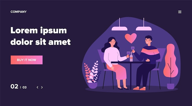 발렌타인 데이에 레스토랑에서 데이트 행복 젊은 부부. 남자와여자가 테이블에 앉아 와인을 마시고, 기념일을 축 하합니다. 관계, 사랑, 낭만적 인 저녁 식사 개념에 대한 그림
