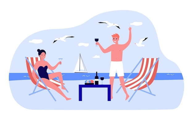 Happy young couple drinking wine on beach. boyfriend and girlfriend having romantic dinner by sea flat vector illustration. summer, vacation, relationship concept for website design or landing page
