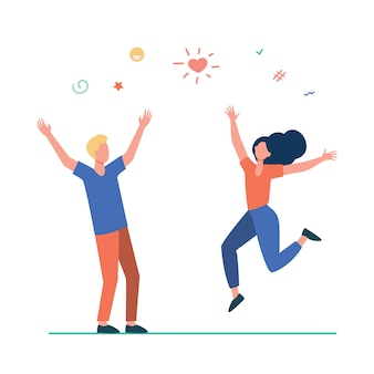 Happy young couple having fun. girl and guy dancing at party, celebrating good news flat illustration.