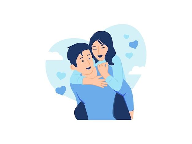 彼の背中の概念図に彼の女性を運ぶ愛の貯金箱の男で幸せな若いカップル