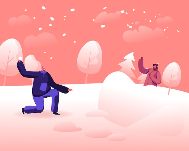 Happy young couple playing snowballs fight on snowy winter landscape outdoors background. cartoon flat illustration