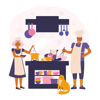 Счастливая молодая пара готовить еду на кухне. проводить время вместе.