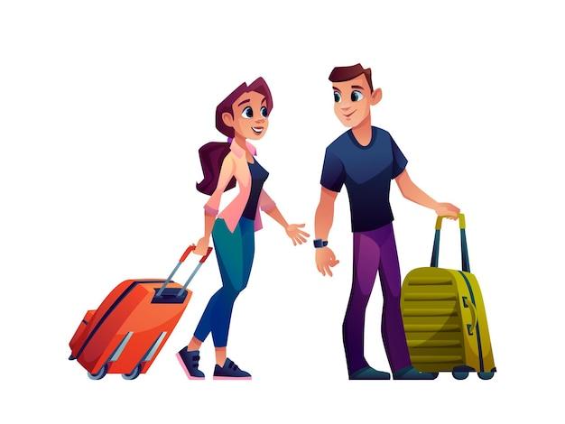 スーツケースバッグと一緒に旅行幸せな若いカップル孤立した漫画のキャラクターベクトル男と女