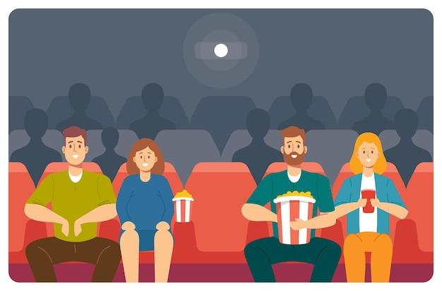 Счастливые молодые пары персонажей смотрят фильм в кино. молодые мужчины и женщины с кукурузой и газировкой смотрят фильм в кинотеатре. развлекательный уик-энд для людей. векторные иллюстрации шаржа