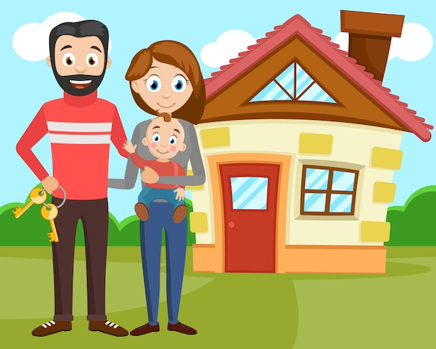 Счастливая молодая семья купила новый дом.