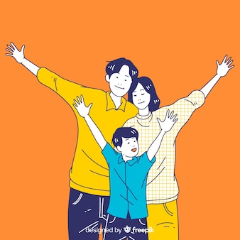 Happy young family in korean drawing style