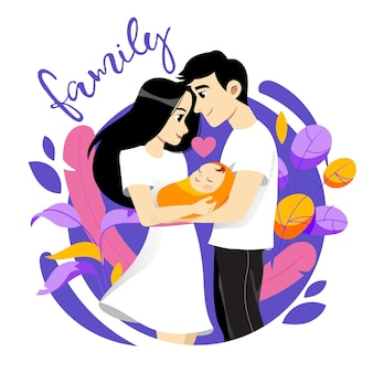 Happy young family picture. male, female and newborn together on white background.
