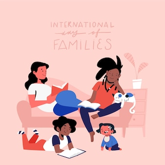 거실에서 시간을 보내는 행복한 젊은 가족