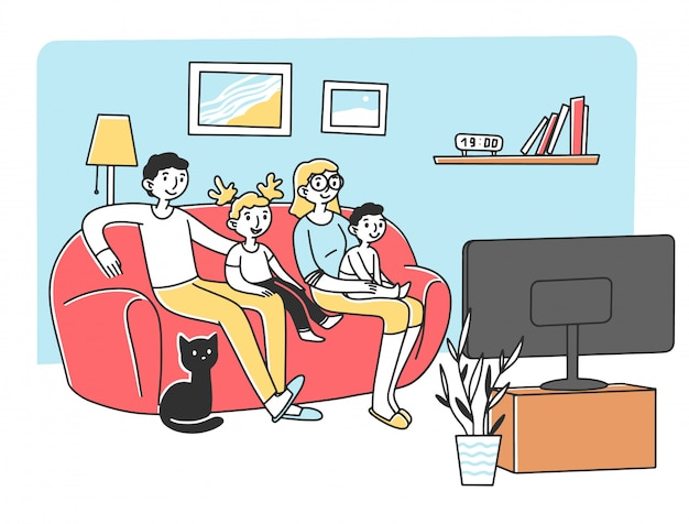ソファのイラストでテレビを見て幸せな若い家族