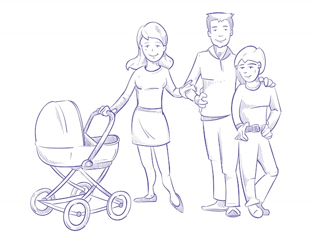 Happy young family with child and baby in stroller, hand drawn, pen sketch vector illustration