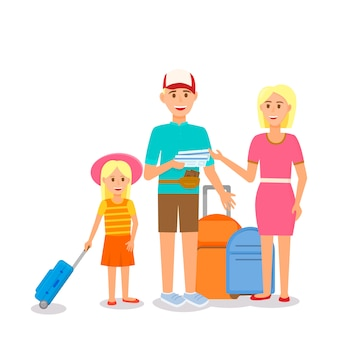 Happy young family with little girl travelling.
