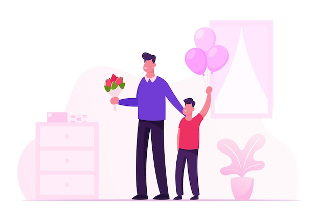 Happy young father with flower bouquet and little son with balloons bunch stand in hospital room meeting mother and newborn baby. cartoon flat illustration