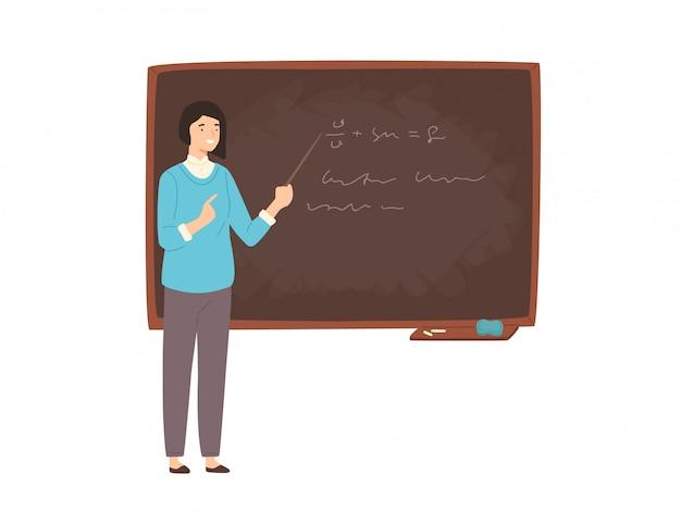 Счастливый молодой преподаватель женского колледжа, профессор университета, преподаватель или педагог, стоя рядом с классной доской, держа указатель и преподавая. красочные иллюстрации в плоском мультяшном стиле.
