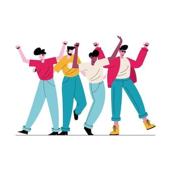 Счастливые молодые четыре мальчика аватары персонажей иллюстрации