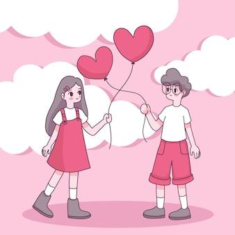 幸せな若い女の子と恋の少年
