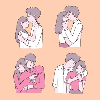 Happy young girl and boy in love illustrations set