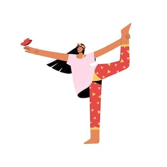 균형 요가 아사 나를 연습하는 행복 한 어린 소녀