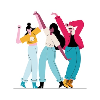 Happy young girls dancing avatars characters  illustration