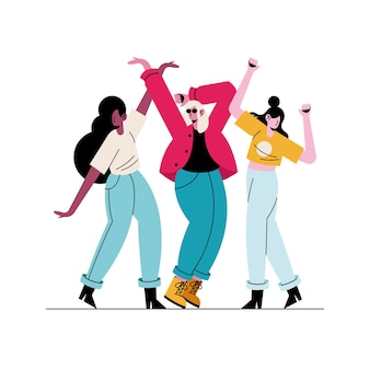 Happy young girls dancing characters  illustration