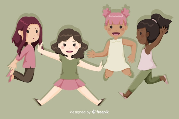 Happy young girls group jumping cartoon
