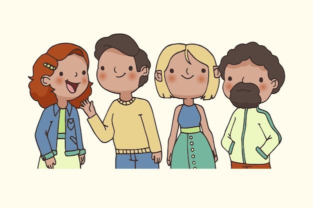 Счастливая молодая группа друзей