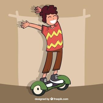 幸せな若者、電動スクーター
