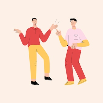 Happy young guys dancing together and having fun
